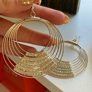 Hoop earrings with crystals
